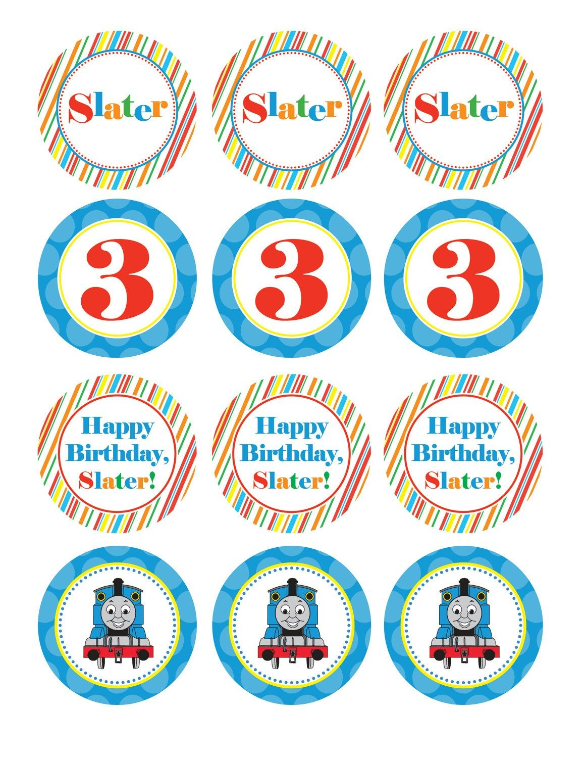 Boy Birthday, Thomas The Train, Custom Cupcake Toppers, Favor Tags - Free Printable Thomas The Train Cupcake Toppers
