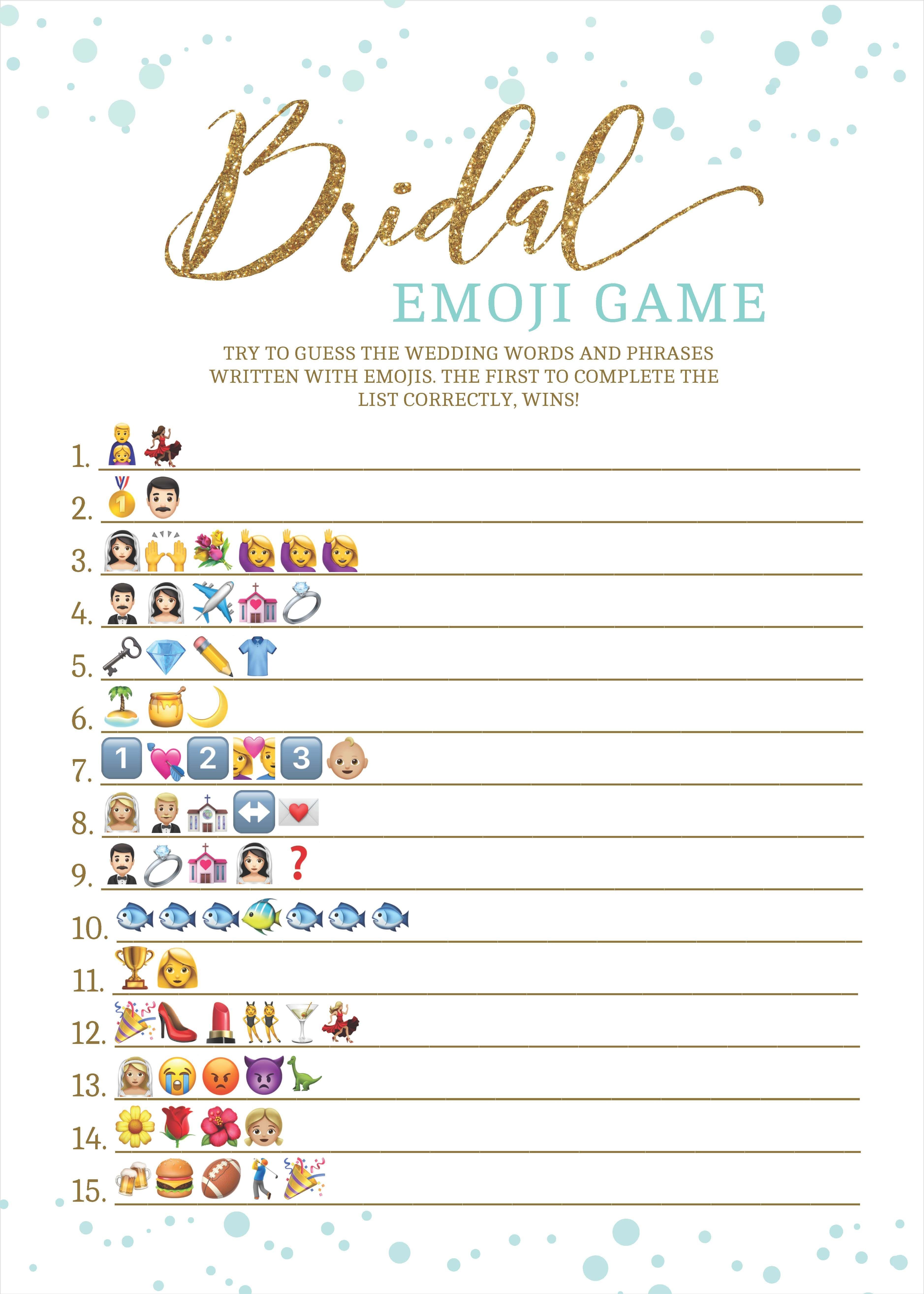 Bridal Shower, Bachelorette, Hen Party, Bridal Game, Emoji - Wedding Emoji Pictionary Free Printable