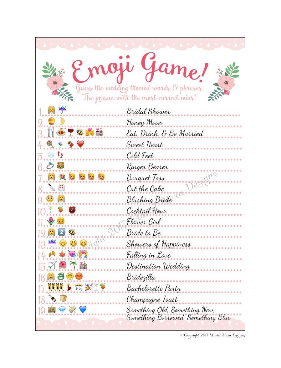 Bridal Shower Emoji Game - Fun Unique Games Diy Pdf Wedding - Emoji Bridal Shower Game Free Printable