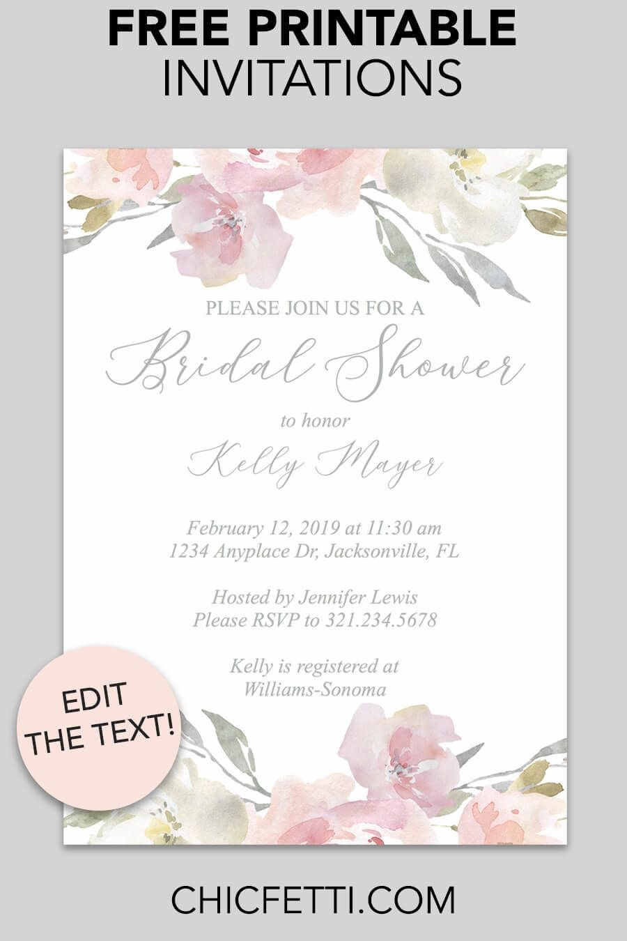 Bridal Shower Printable Invitation (Blush Floral | Invitations - Free Printable Bridal Shower Invitations Templates