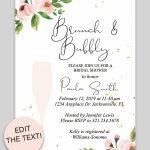 Bridal Shower Printable Invitation (Floral Bubbly | Invitations   Free Printable Bridal Shower Invitations Templates
