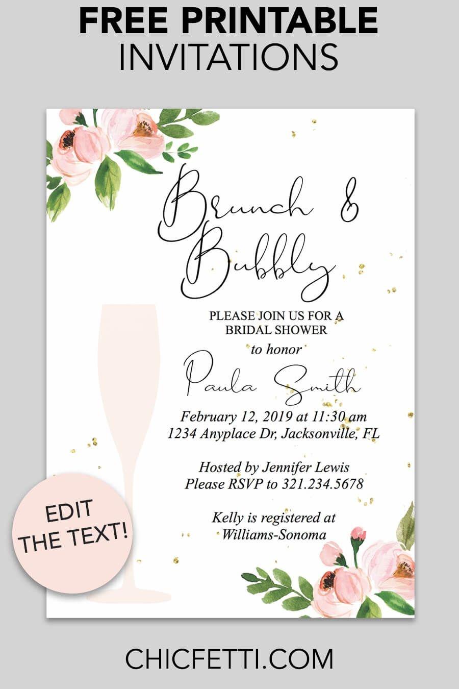 Bridal Shower Printable Invitation (Floral Bubbly | Invitations - Free Printable Bridal Shower Invitations Templates