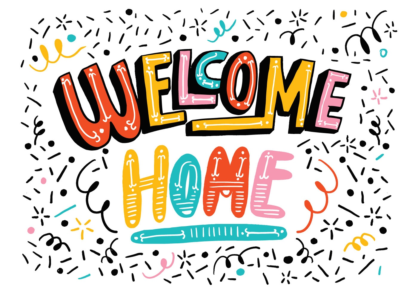 Bright Welcome Home Lettering - Download Free Vector Art, Stock - Welcome Home Cards Free Printable