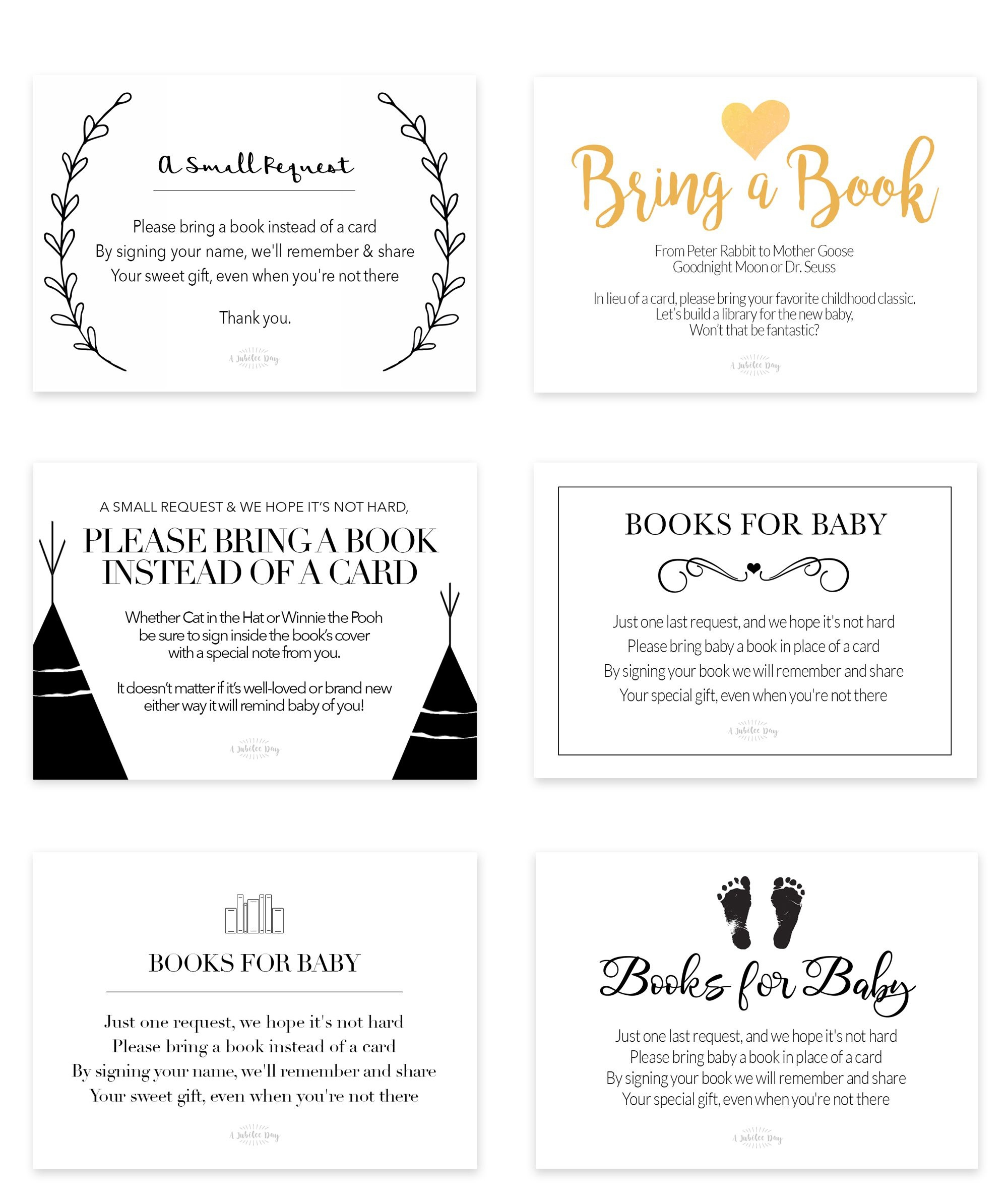 Bring A Book Instead Of Card (Free Printable | Book Theme Party - Bring A Book Instead Of A Card Free Printable