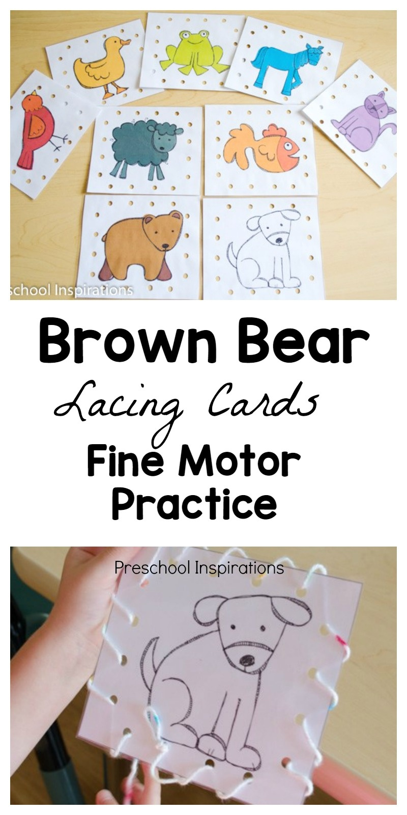 Brown Bear Lacing Cards Busy Bag - Preschool Inspirations - Free Printable Lacing Cards