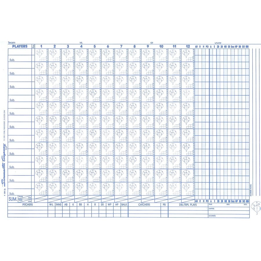 C.s. Peterson's Scoremaster Baseball/ Softball Scorebook | Sports - Softball Scorebook Printable Free