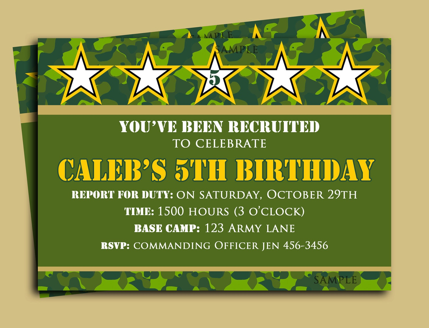 Camouflage Birthday Invitation Printable Or Printed With Free | Etsy - Free Printable Camouflage Birthday Cards