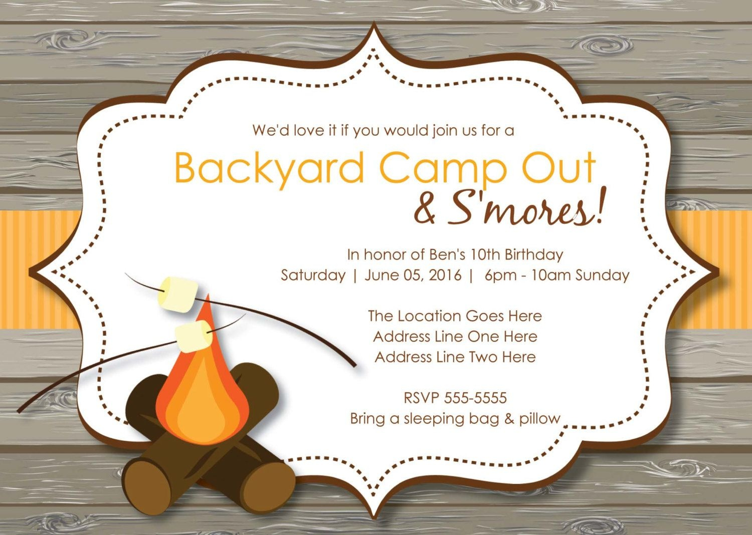 Camp Out Party Invitations Free Bonfire Birthday Invitations - Free Printable Camping Themed Birthday Invitations