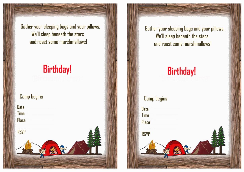 Camping Birthday Invitations | Birthday Printable - Free Printable Camping Themed Birthday Invitations
