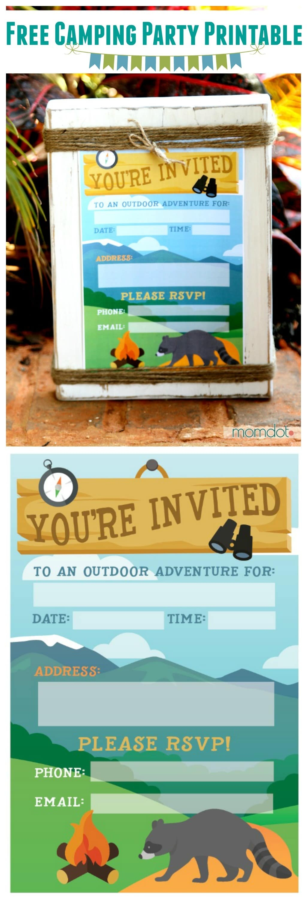 Camping Birthday Party Invite: Free Printable - - Free Printable Camping Themed Birthday Invitations