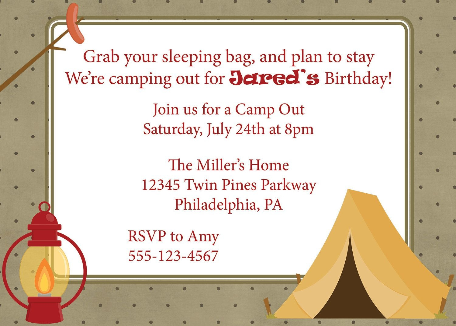 Camping Out Birthday | Campout Invitation Camping Camp Out Invite - Free Printable Camping Themed Birthday Invitations