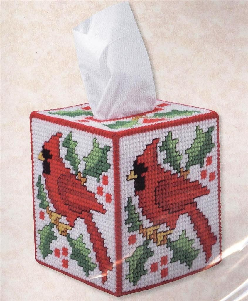 Cardinal Kleenex Tissue Box Cover Plastic Canvas Kit ~ New | For - Free Printable Plastic Canvas Tissue Box Patterns