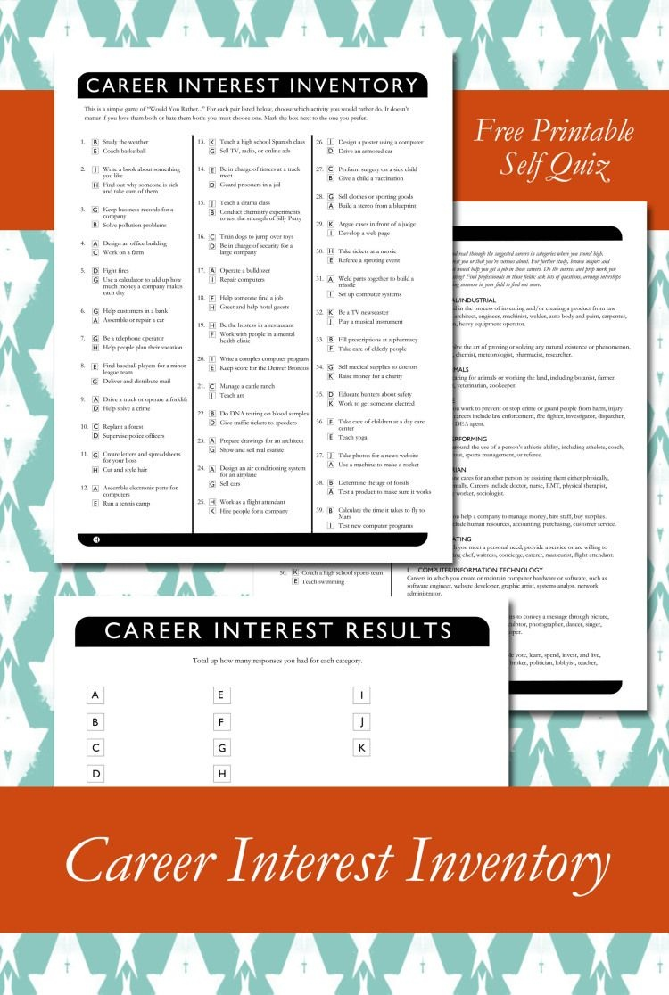 Career Interest Inventory Printable | My Classroom | College - Printable Career Interest Survey For High School Students Free