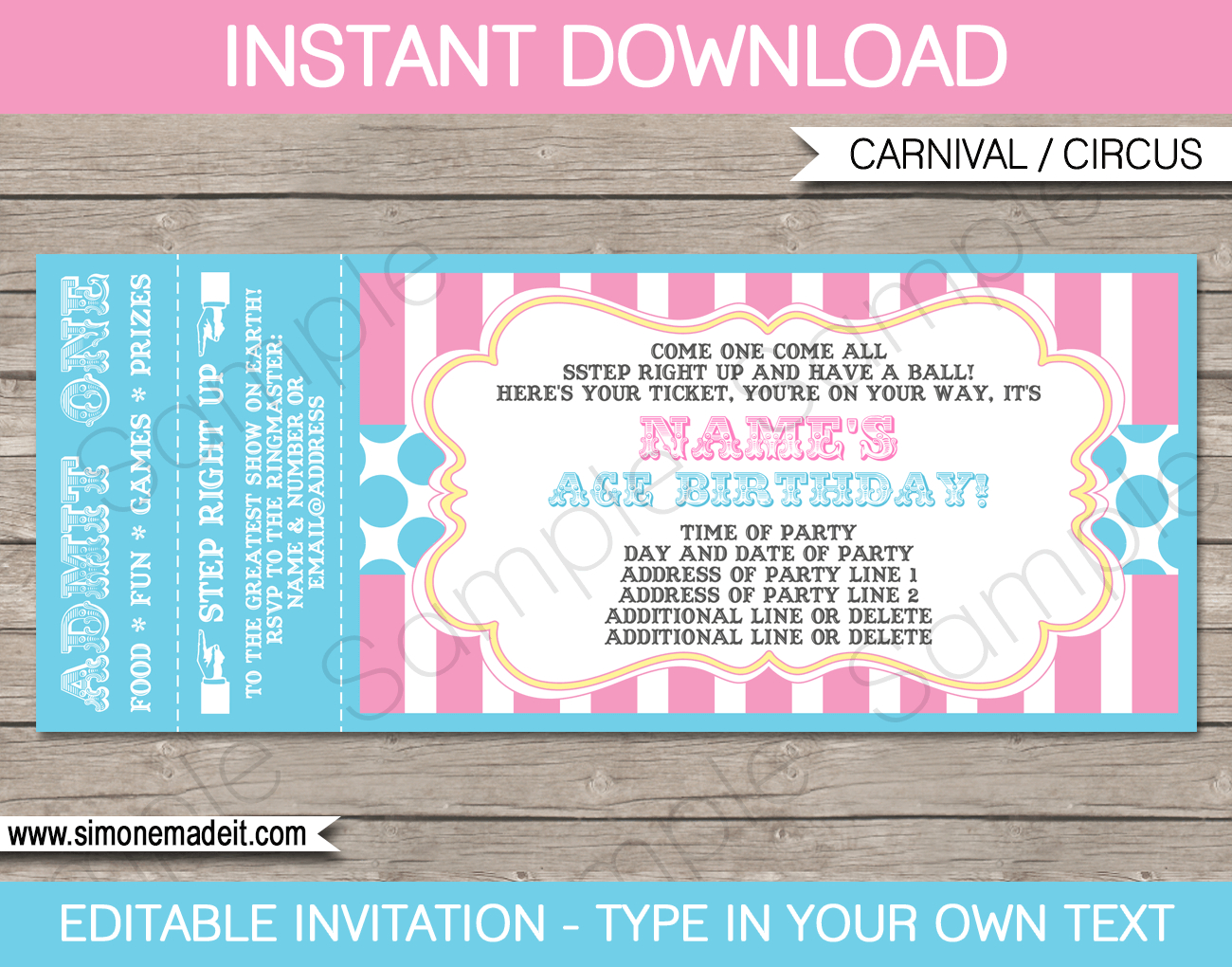 Carnival Party Invitation Templates. Carnival Party Ticket - Free Printable Ticket Invitations
