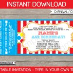 Carnival Party Ticket Invitation Template | Carnival Or Circus   Free Printable Baseball Ticket Birthday Invitations