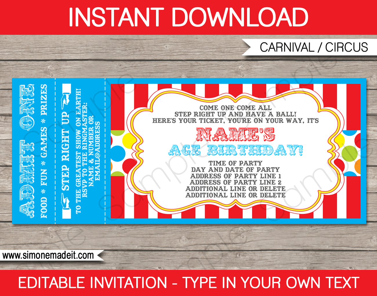 Carnival Party Ticket Invitation Template | Carnival Or Circus - Free Printable Baseball Ticket Birthday Invitations