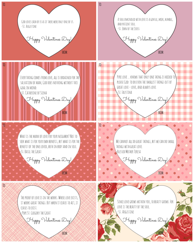 Catholic Valentine Cards: Free Printables! - California To Korea - Free Valentine Printables