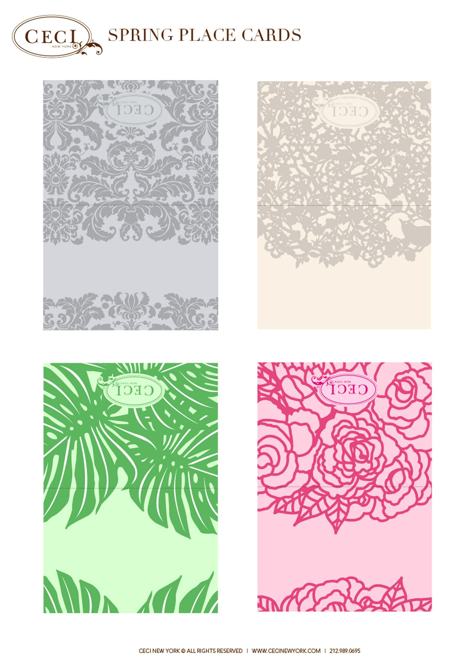 Cecistyle - Make This! - Ceci New York Spring Place Cards. #template - Free Printable Damask Place Cards
