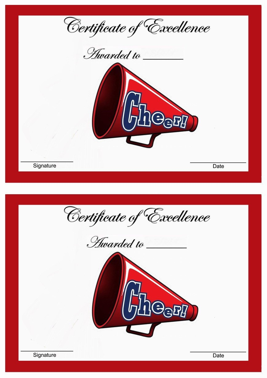 Cheerleading Award Templates. Free Printable Certificates. Printable - Free Printable Cheerleading Certificates
