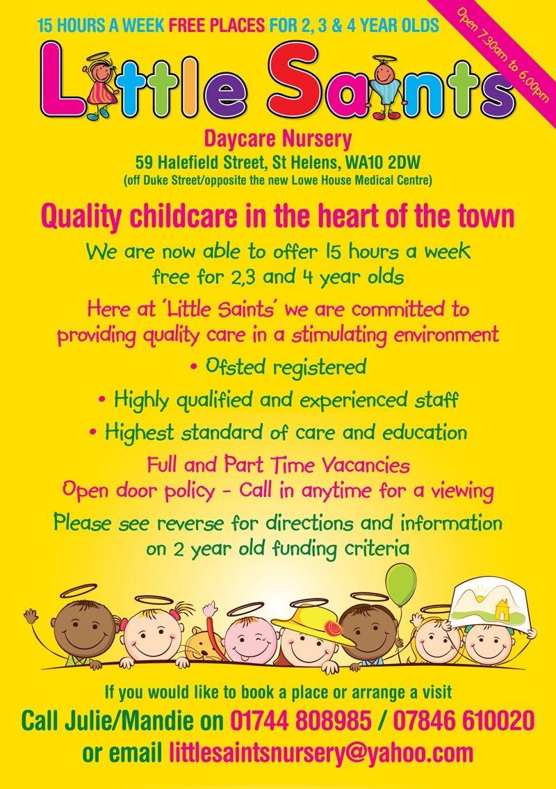 Childcare Leaflet Design For Little Saints Daycare Nurserywww - Free Printable Daycare Flyers