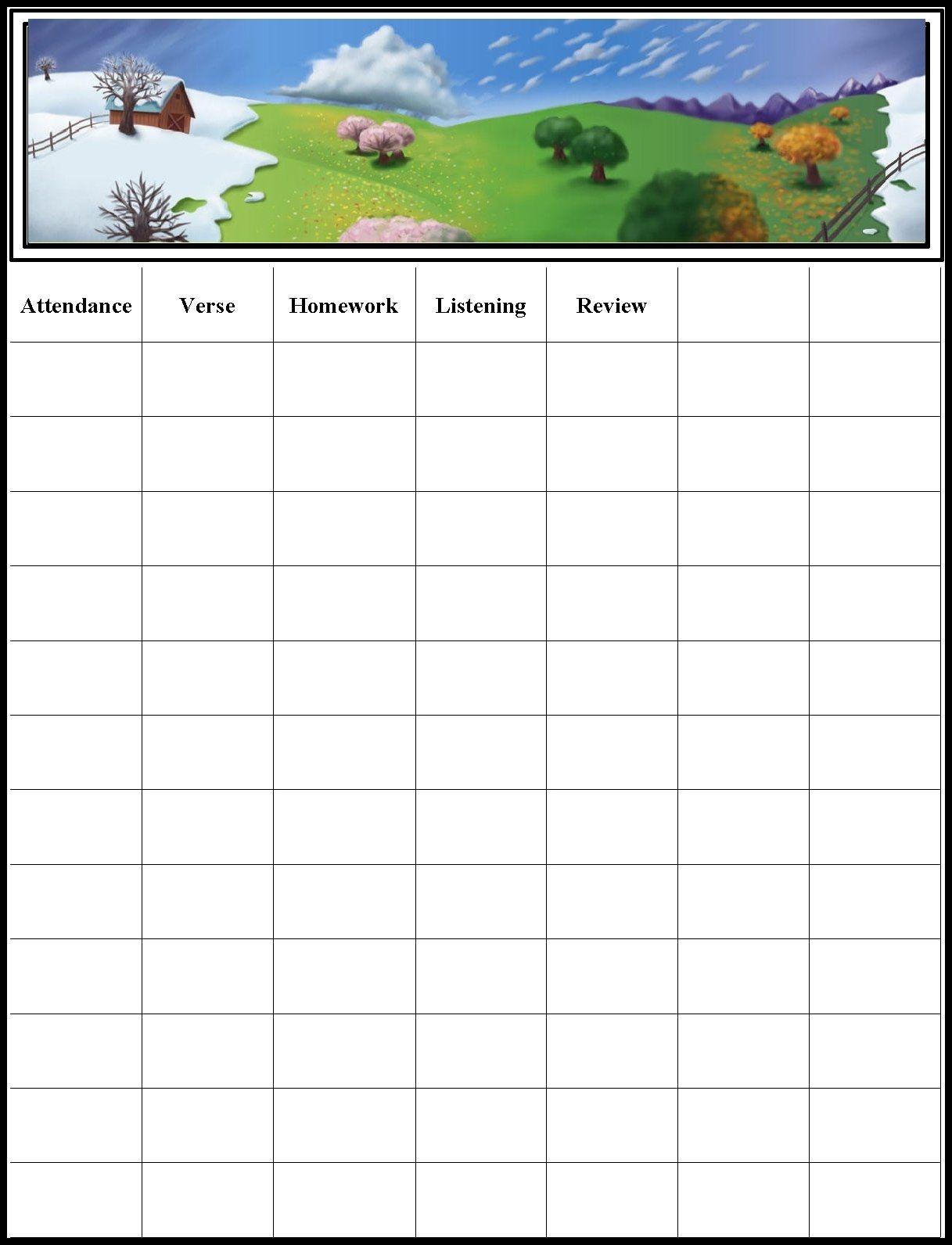 Childrens Gems In My Treasure Box: Sunday School - Attendance Chart - Sunday School Attendance Chart Free Printable