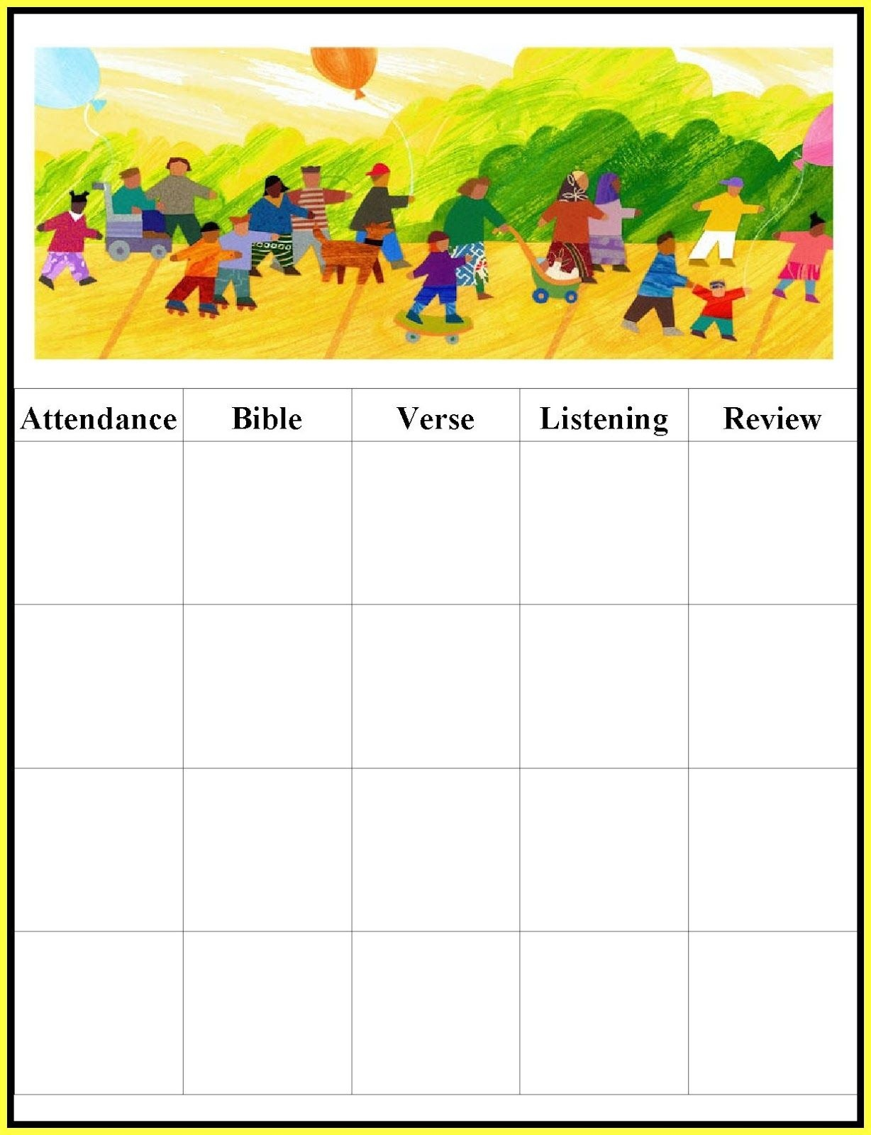 Childrens Gems In My Treasure Box: Sunday School - Attendance Charts - Sunday School Attendance Chart Free Printable