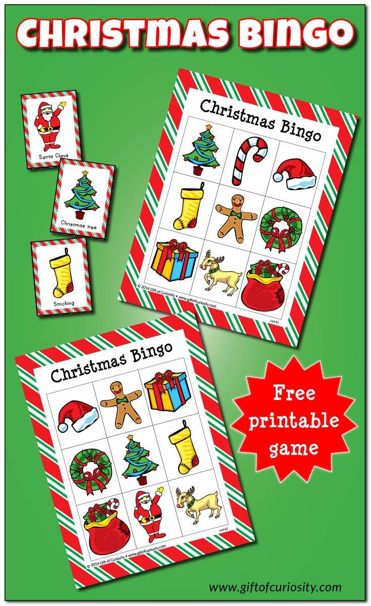 Christmas Bingo Game {Free Printable} - Gift Of Curiosity - Christmas Bingo Game Printable Free