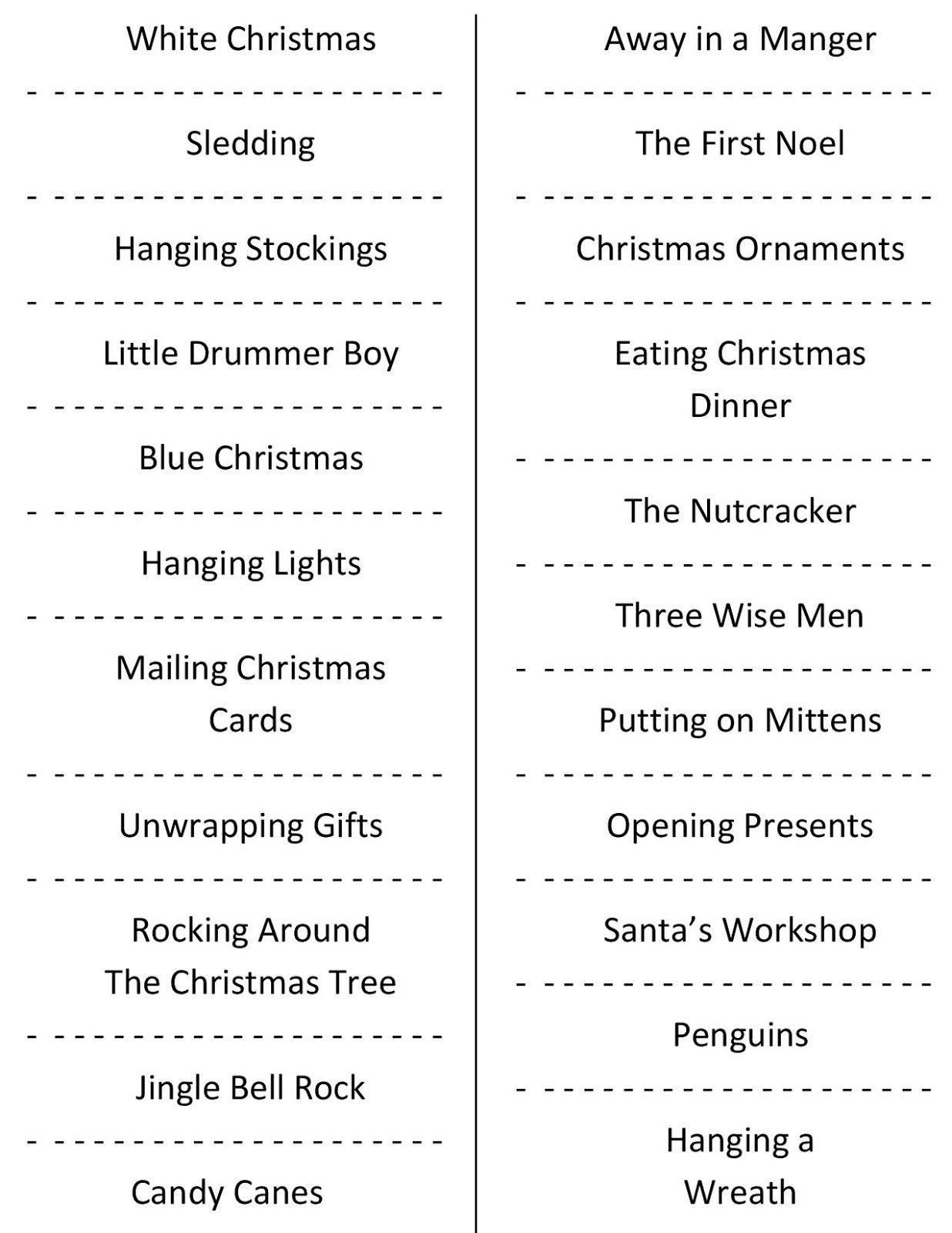 Christmas Charades (Free Printable Party Game) - Holiday Office Party Games Free Printable
