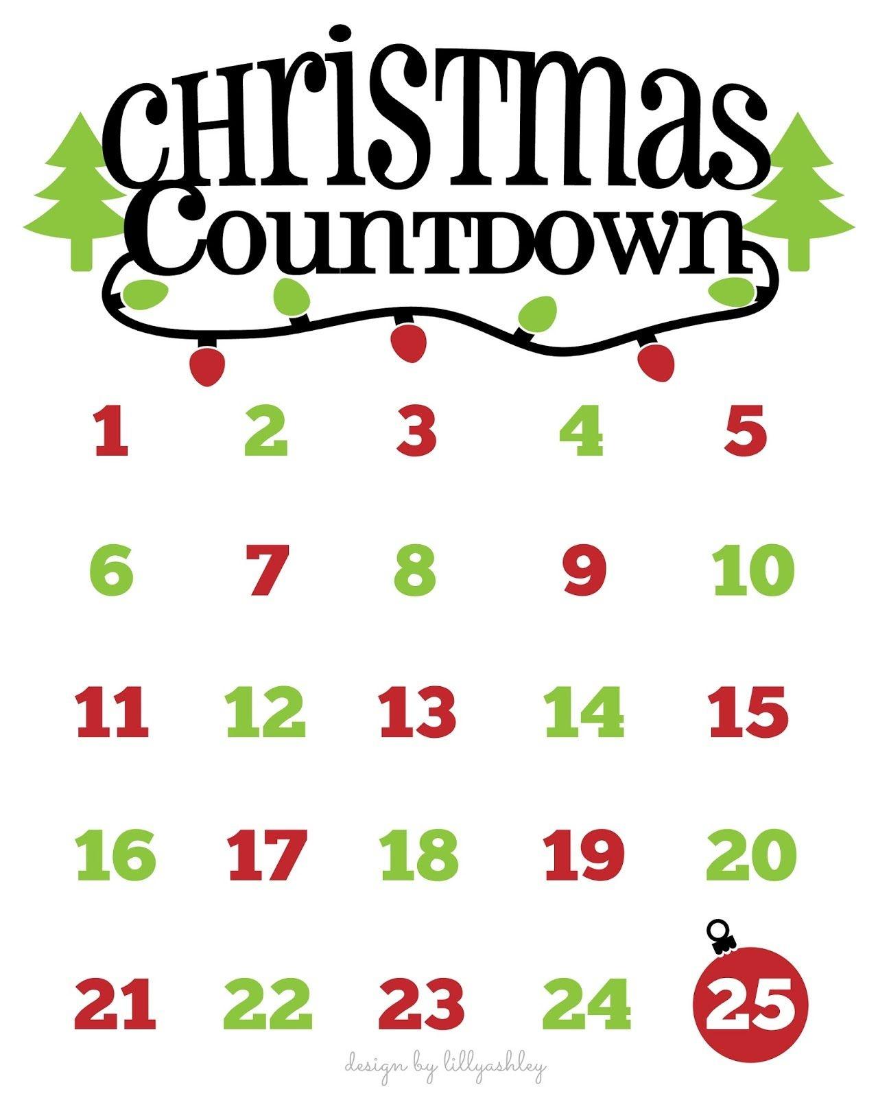 Christmas Countdown Free Printable And Free Svg | Cricut | Christmas - Christmas Countdown Free Printable