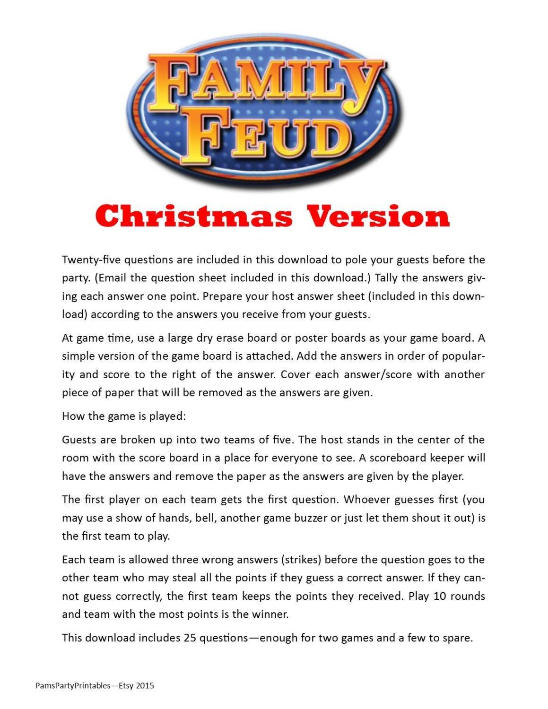 Christmas Family Feud - Printable Game - Christmas Family Game - Free Printable Christmas Games For Family Gatherings