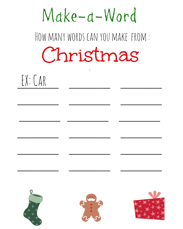 Christmas Games For Kids ~ Free Printable, Christmas Make A Word - Free Printable Christmas Games
