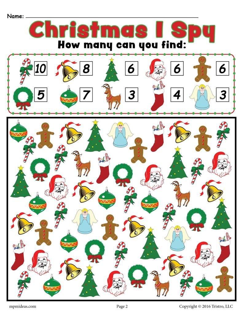 Christmas I Spy - Free Printable Christmas Counting Worksheet - Free Printable Christmas Games For Preschoolers