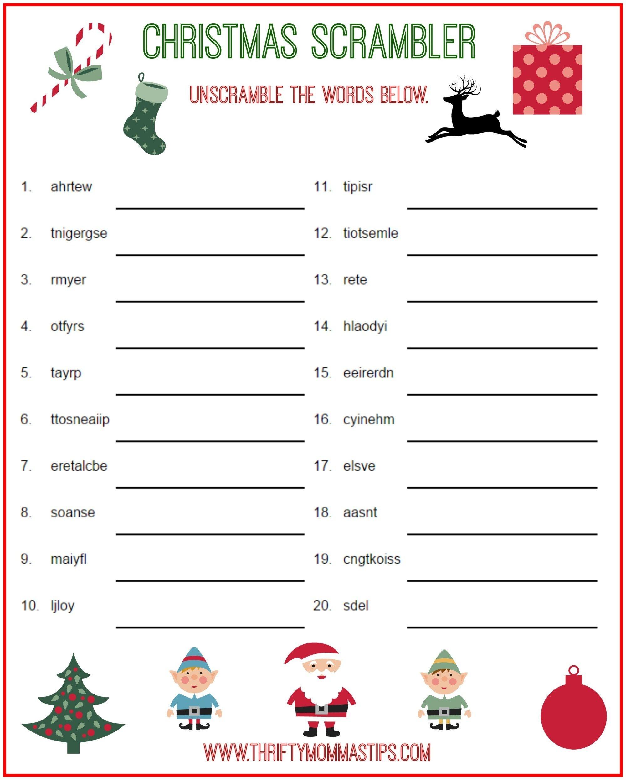 Christmas Scrambler Free Kids Puzzle Printables | Christmas Family - Free Printable Christmas Puzzles