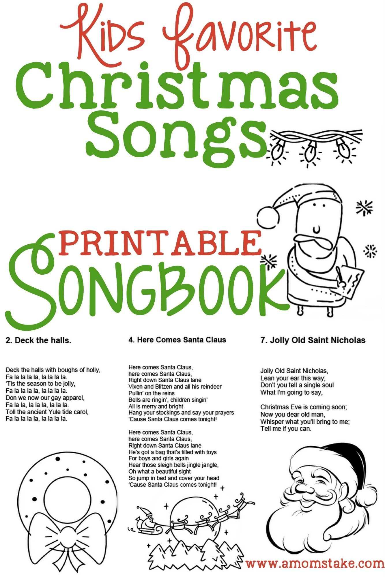 Christmas Songs For Kids – Free Printable Songbook! A Coloring Book - Free Printable Lyrics To Christmas Carols