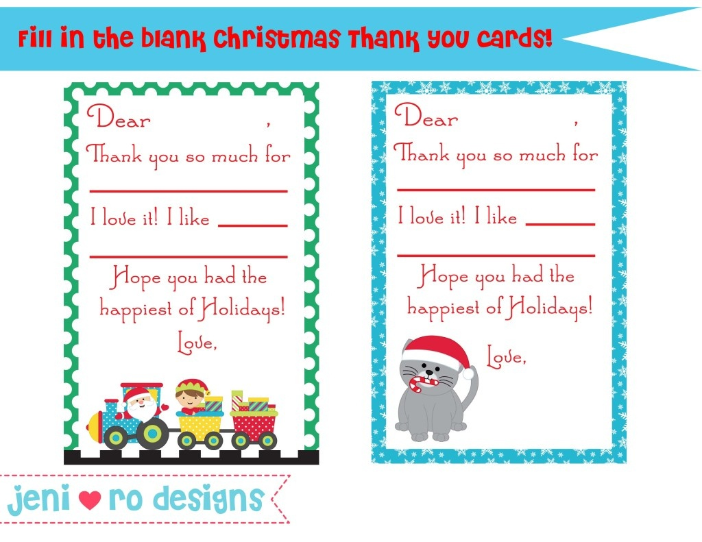 Christmas Thank You Notes For Kids - Free Printable! • - Christmas Thank You Cards Printable Free