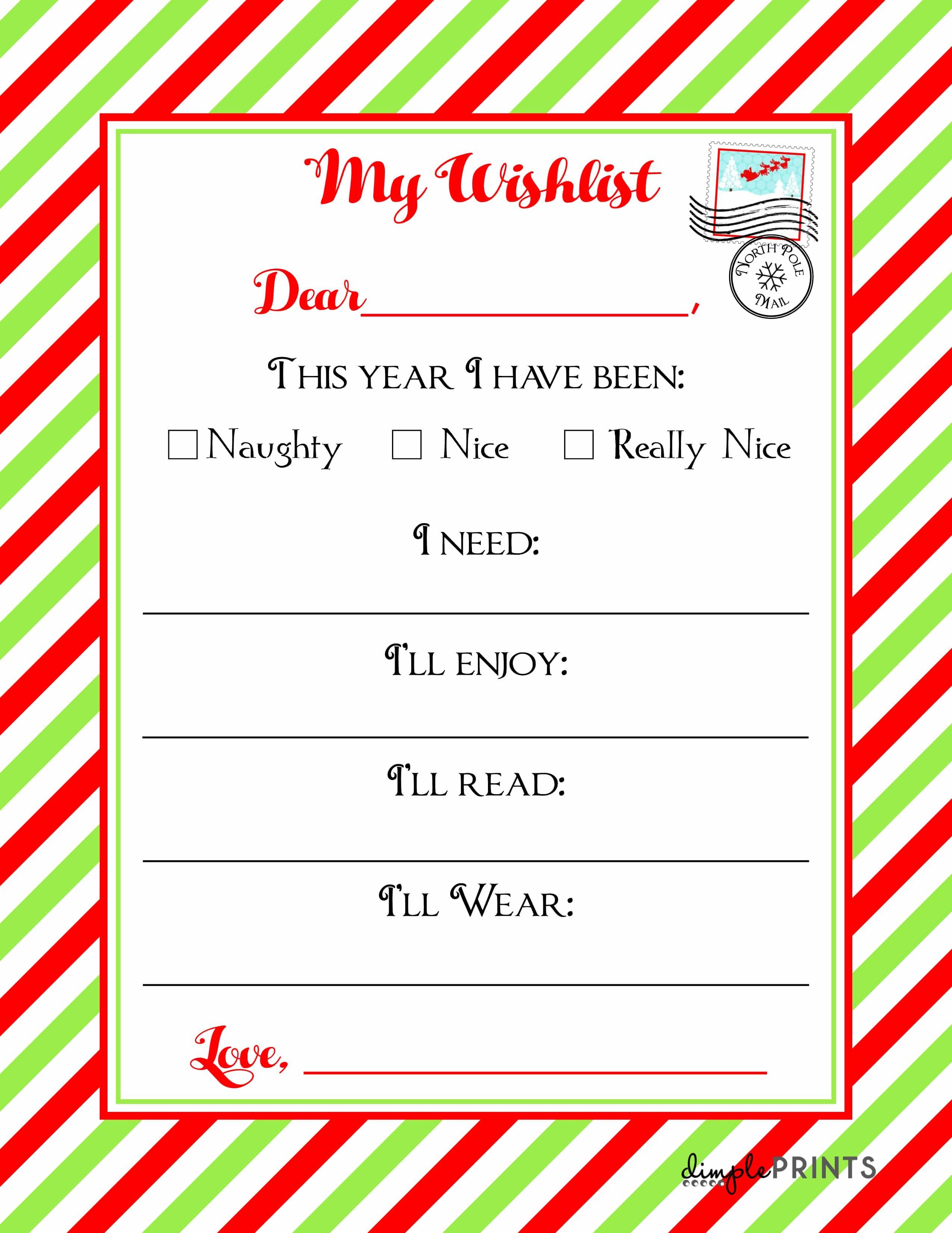 Christmas Wishlist Printable Letter ⋆ Real Housemoms - Free Printable Christmas Wish List