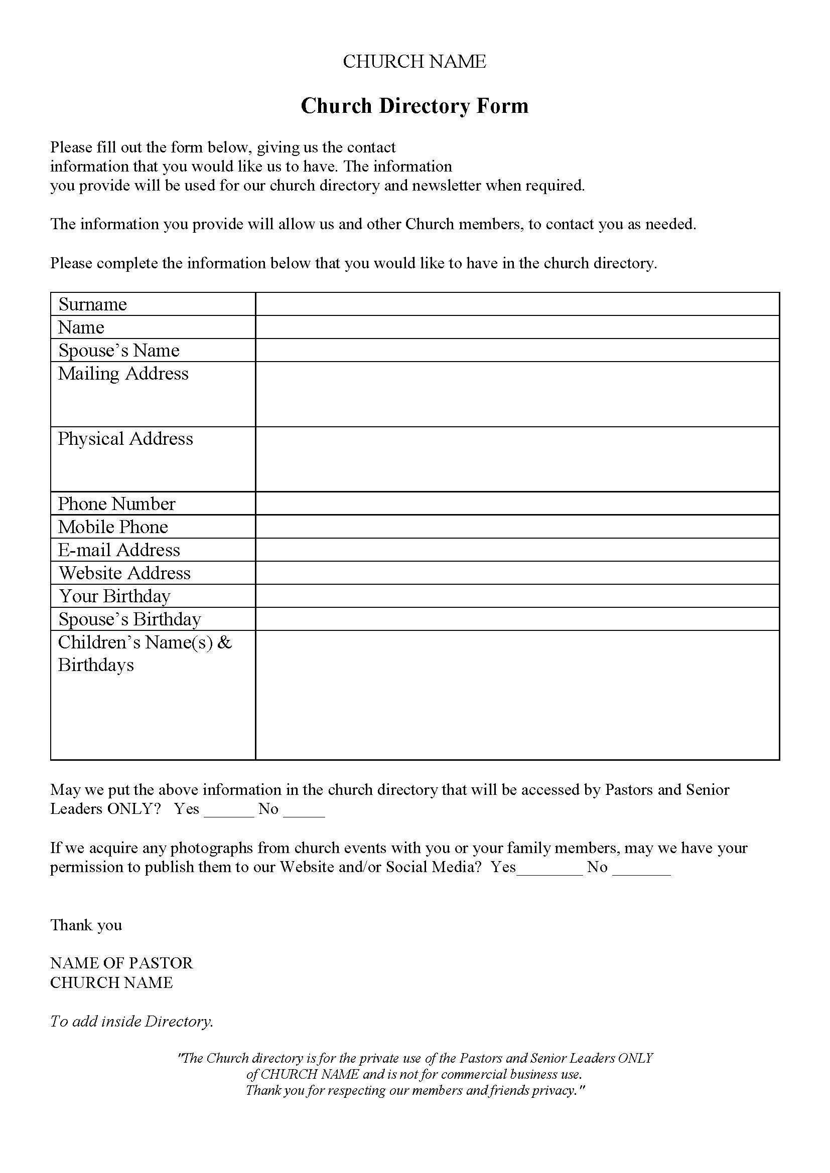 Church Directory | Church Directory Ideas | Church Outreach, Church - Free Printable Church Directory Template