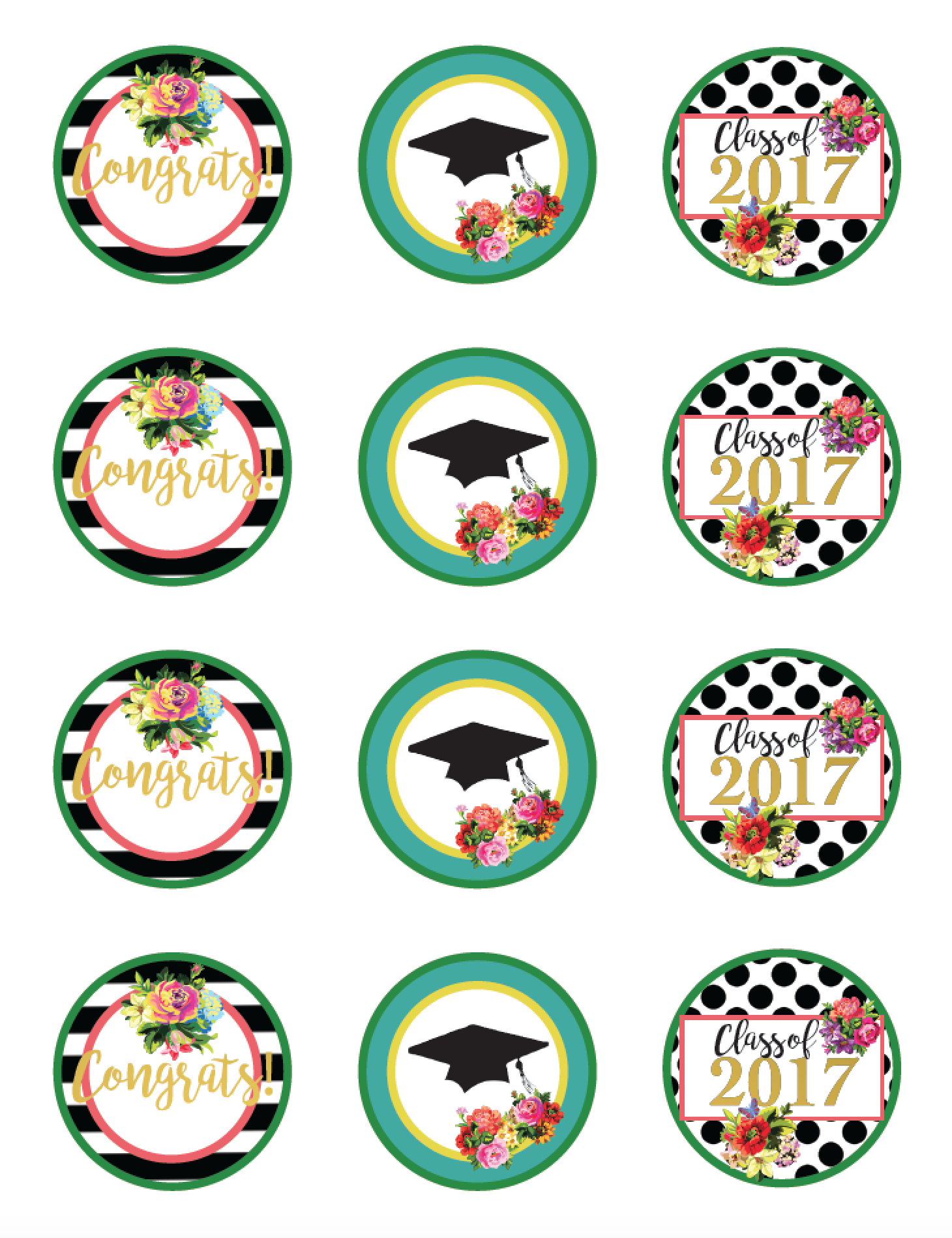 Class Of 2017 Free Floral Graduation Party Printables! | Party Ideas - Free Graduation Printables 2017