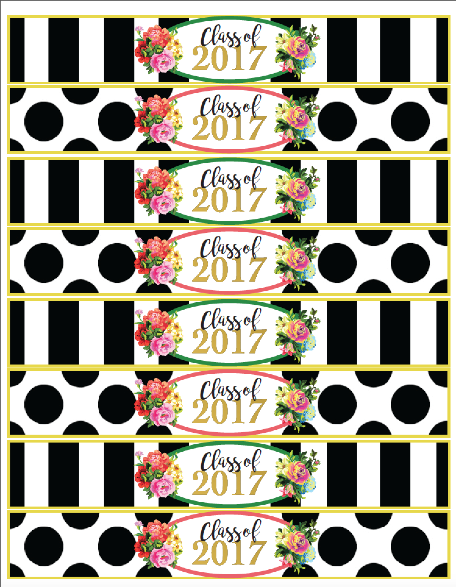 Class Of 2017 Free Floral Graduation Party Printables! | Veronica's - Free Graduation Printables 2017