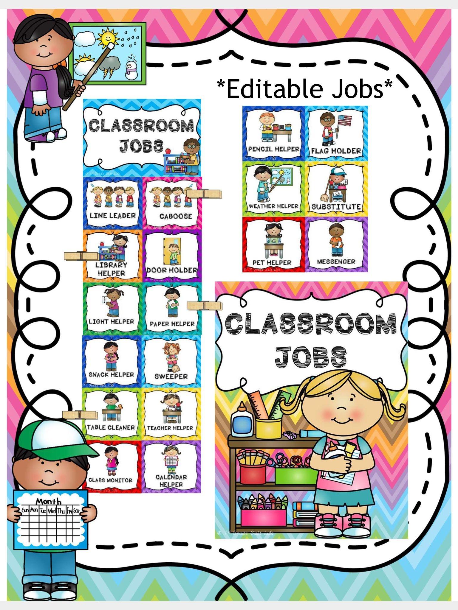 Classroom Jobs Clip Chart | Pre-K | Classroom Job Chart, Classroom - Preschool Classroom Helper Labels Free Printable