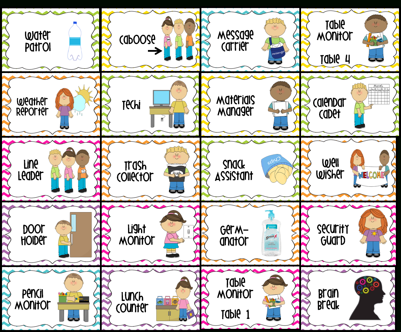 Classroom Jobs Printable | Water Patrol (2), Caboose, Message - Classroom Helper Chart Free Printables