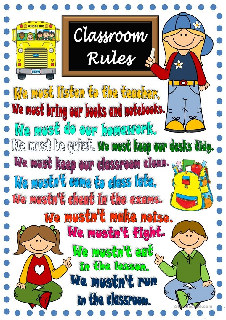 Classroom Rules - Poster Worksheet - Free Esl Printable Worksheets - Free Printable Classroom Rules Worksheets