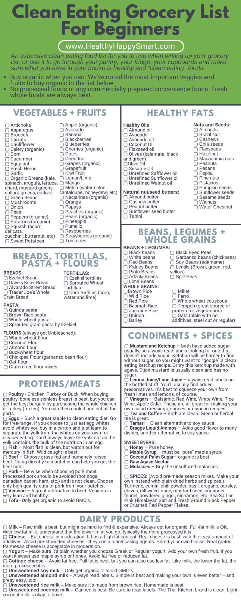 Clean Eating Grocery List • Healthy Food List • Healthy.happy.smart. - Free Printable Clean Eating Grocery List