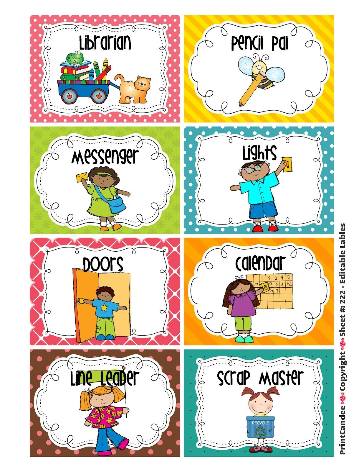 Cleaning Classroom Clipart | Classroom Job Chart | Classroom Helpers - Classroom Helper Chart Free Printables