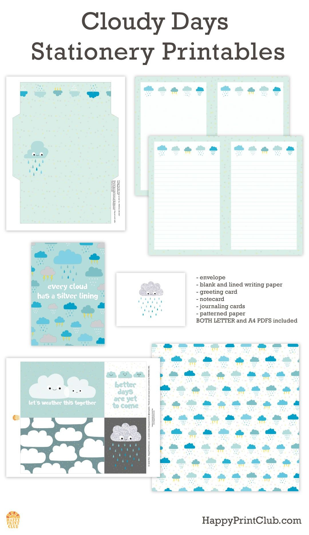 Cloudy Days Stationery Printables On Happyprintclub | Cute - Free Printable Cloud Stationery