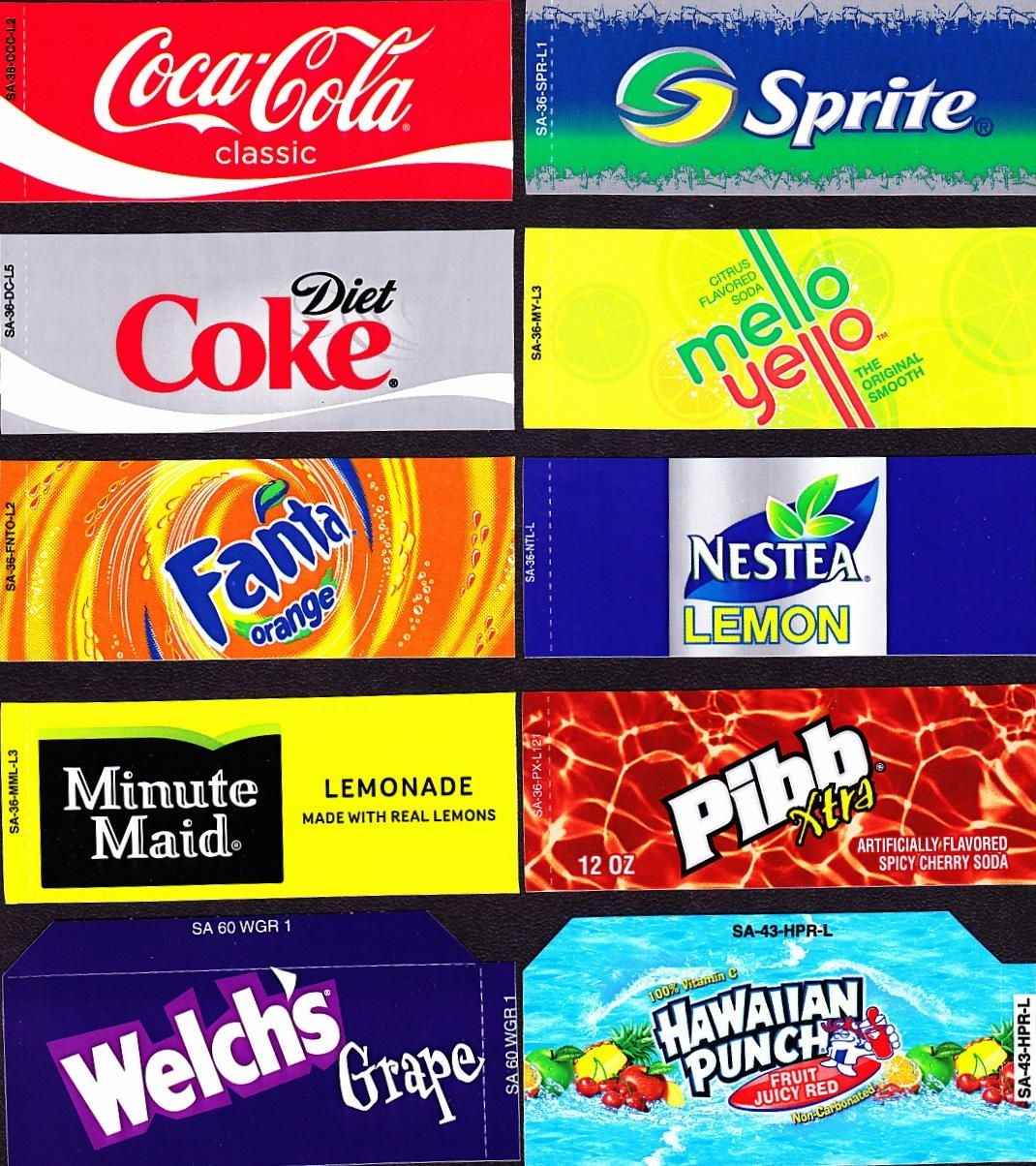 Coke Machine Labels | 10 Coke Mixed Set Small Flavor Labels Soda - Free Printable Vending Machine Labels