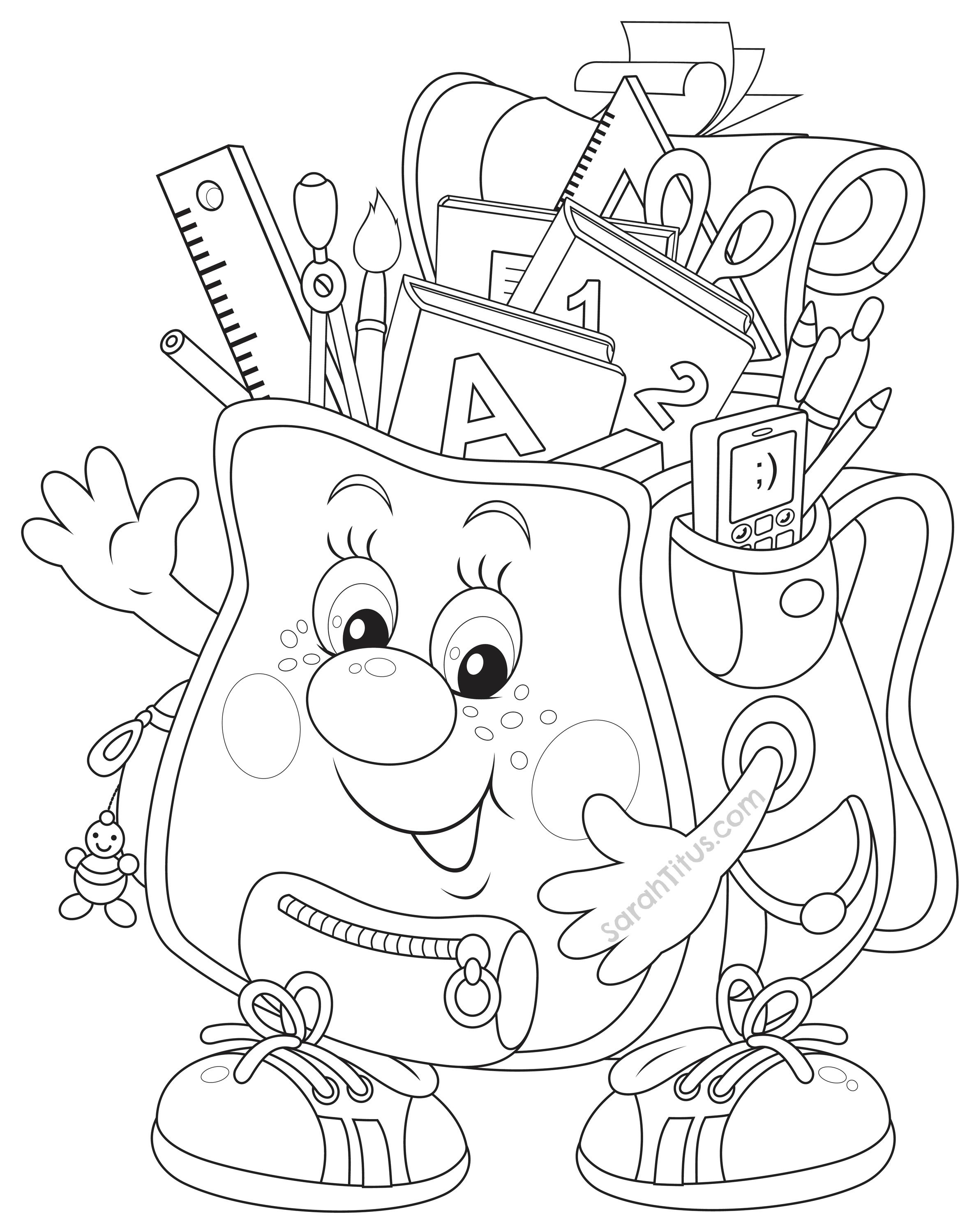 Coloring Pages Back To School Theme Clip   Coloring Pages - Free Printable First Day Of School Coloring Pages