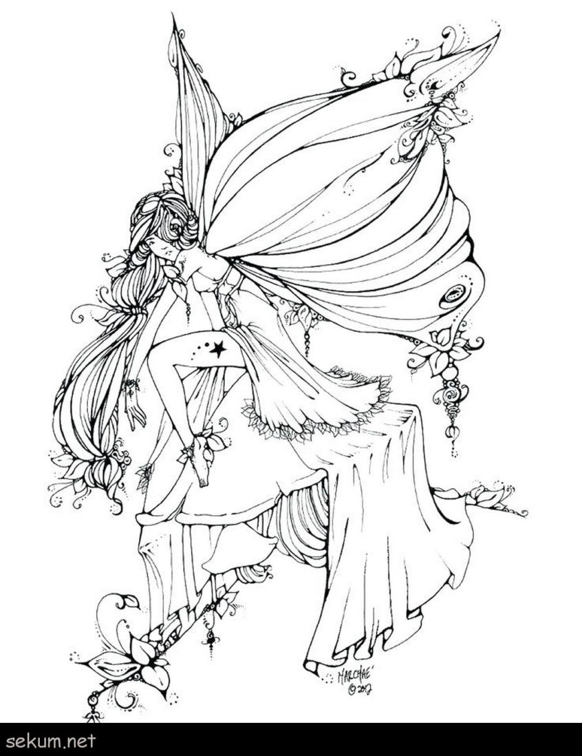 Coloring Pages Ideas: Coloring Pages Ideas Dark Gothic Fairy For - Free Printable Coloring Pages Fairies Adults