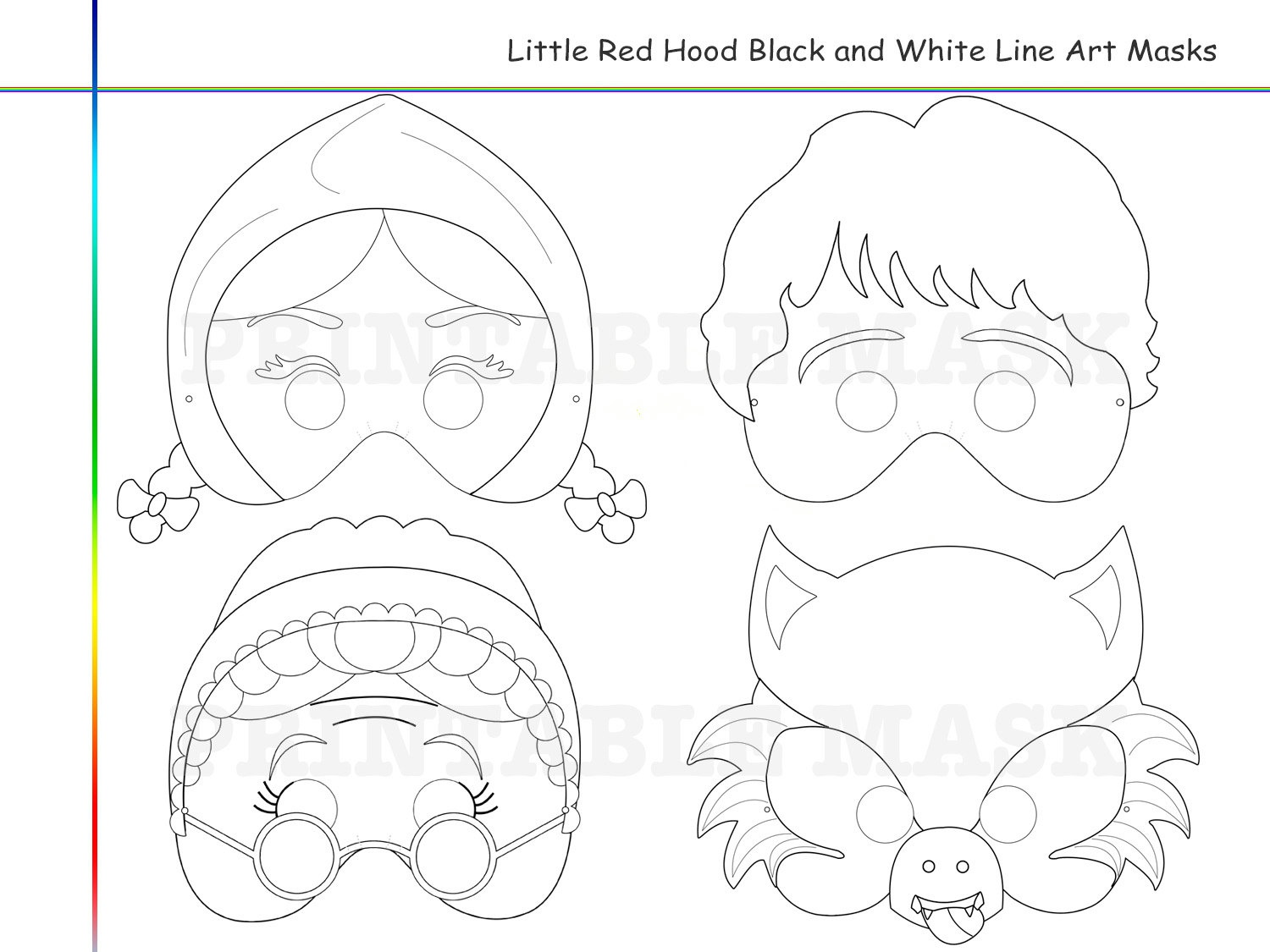 Coloring Pages Little Red Riding Hoodholidaypartystar On Zibbet - Little Red Riding Hood Masks Printable Free