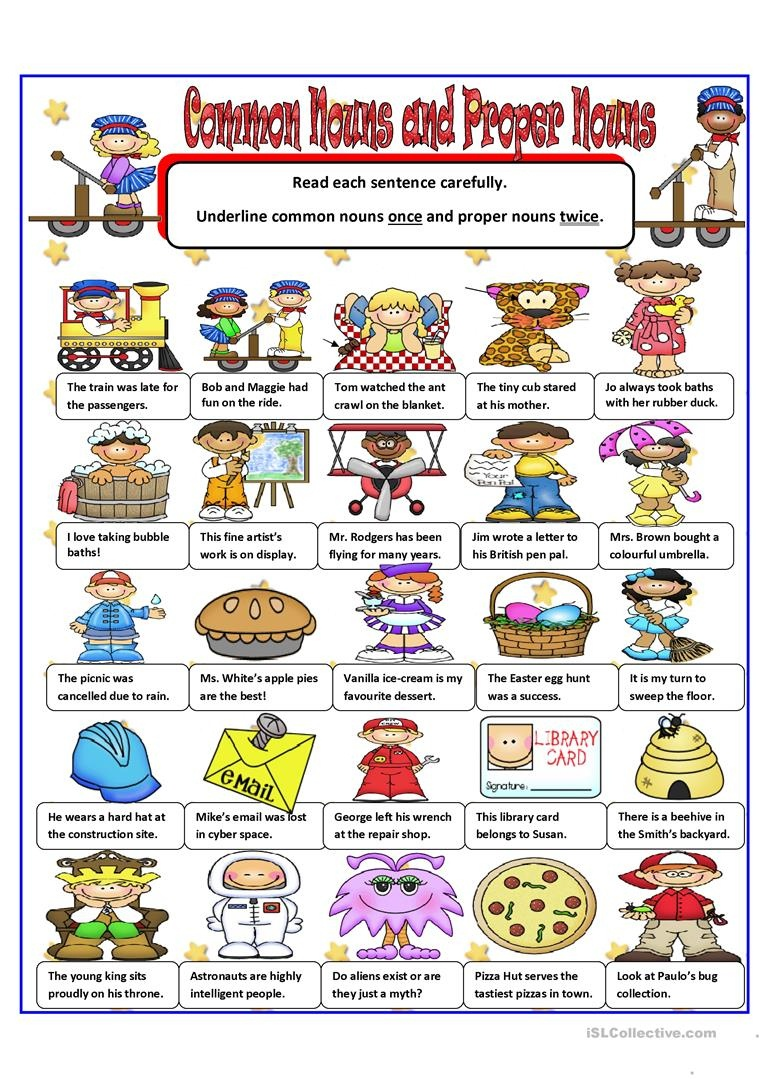 Common And Proper Nouns Worksheet - Free Esl Printable Worksheets - Free Printable Noun Picture Cards